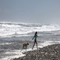 Dog and Girl in the Surf